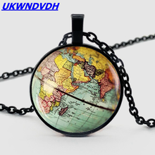 Retro Dome Crystal Globe Pendant Necklace Earth Planet World Map Ball Chain Men and Women