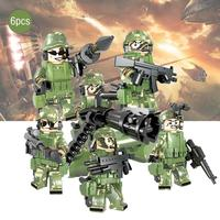 6PCS Assembled Figure Building Blocks Toys Puzzle Assembly Camouflage DIY Dolls for Children Kids