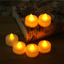 10pcs Flickering Flameless LED Tea light Flicker Tea Candle Light Party Wedding Candels Safety Home Decoration(China)