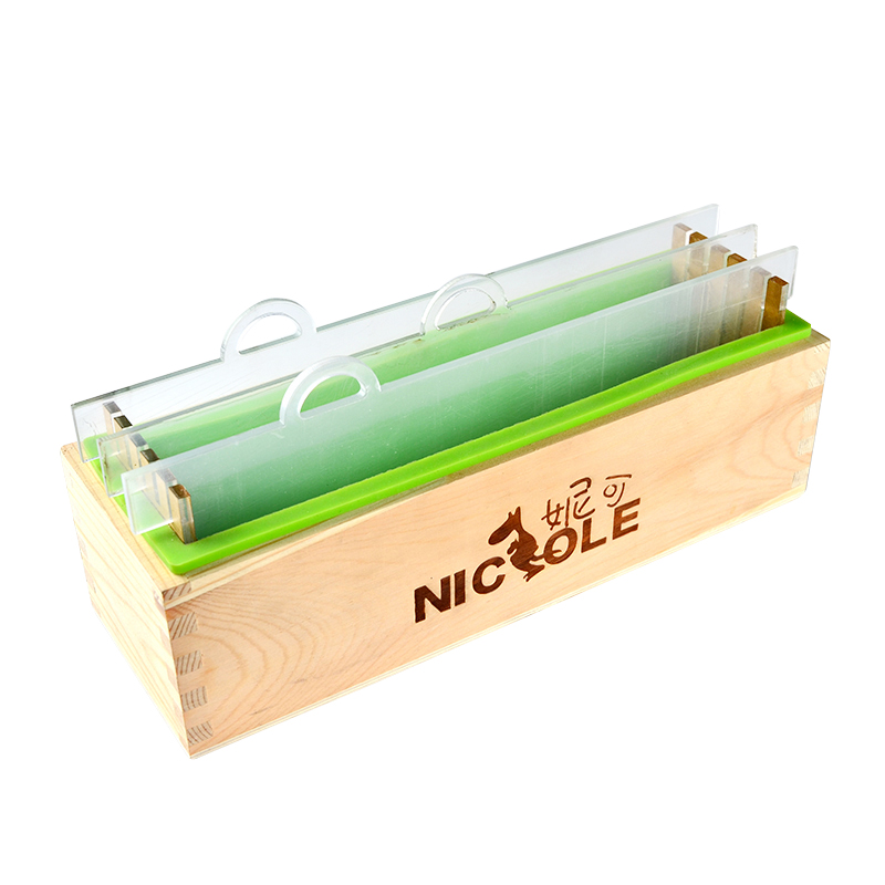 Wooden Soap Mold With Silicone Liner And Transparent Vertical Acrylic Clapboard Rectangle Loaf Soap Mold
