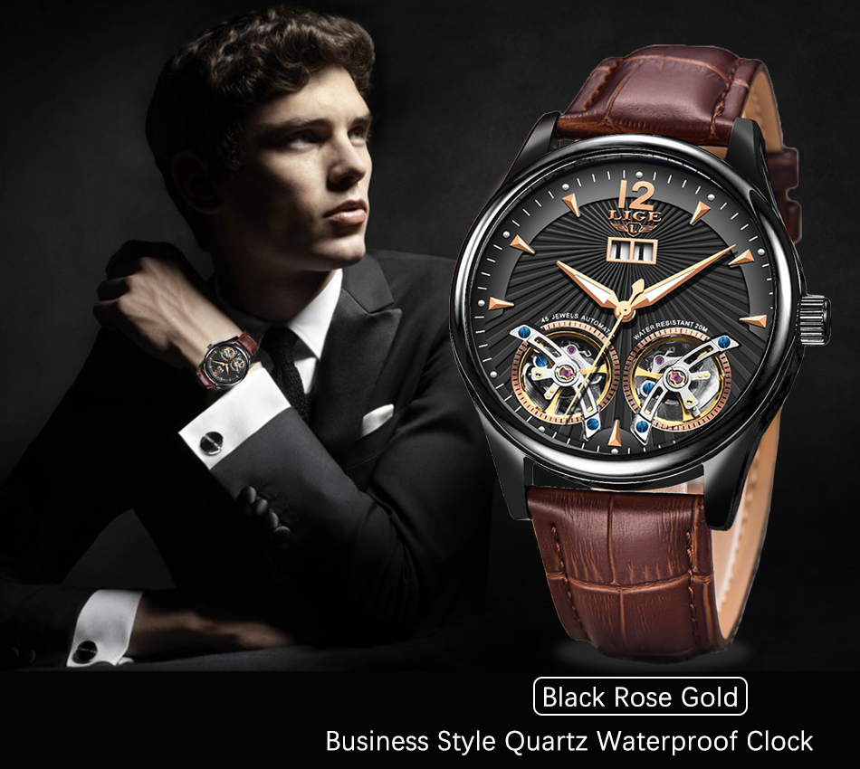 New 2020 Watch Men LIGE Casual Leather Double Tourbillon Mechanical Wristwatch Mens Watches Top Brand Luxury Automatic Clock+Box
