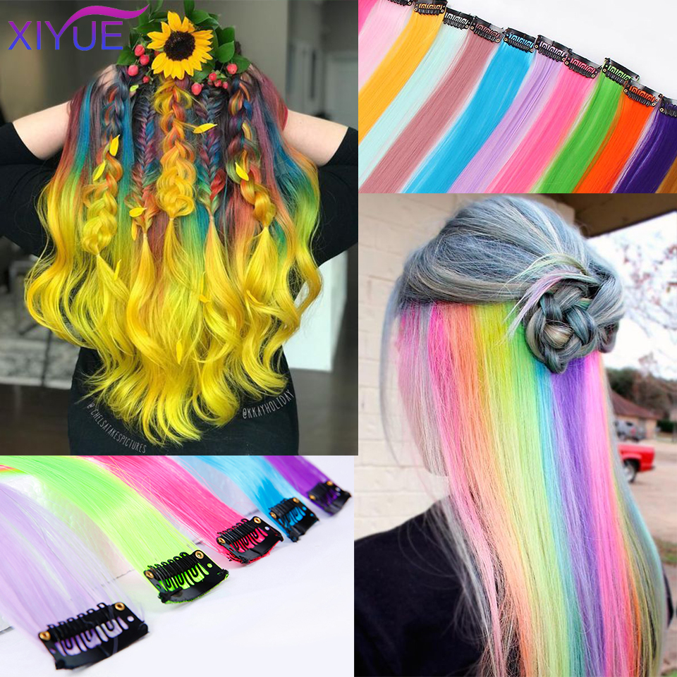 22Inch Colored Synthetic Hair Extensions Long Straight One Clip In One Piece Strips Rainbow Highlight Hairpiece For Women