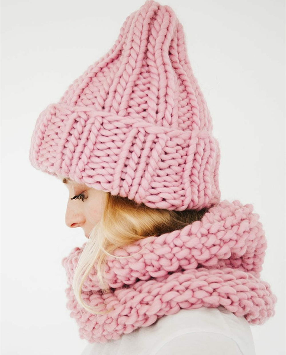 Women Winter Knitted Beanies Hat Thick Soft Warm Coarse Large Knitted Solid Hat Female Ice Ski Bonnet Skullies Beanies Hat Cap 178