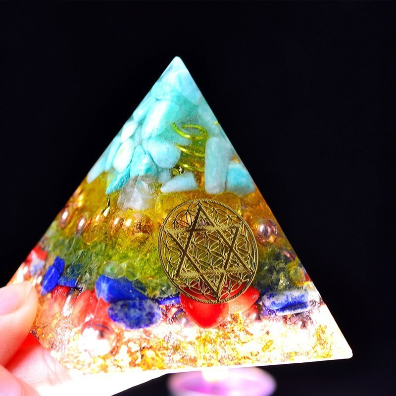 AURA REIKI Orgonite Energy Aogan Rune Pyramid Natural Chakra Spar Pyramid Purification Office Decorations For Best Friends Gifts
