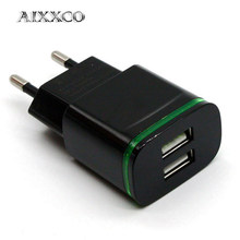 Aixxco 5V 2A Uni Eropa Plug Lampu LED 2 Adaptor USB Ponsel Charger Dinding Perangkat Charge Cepat QC 3.0 charger Ponsel Charger Cepat(China)