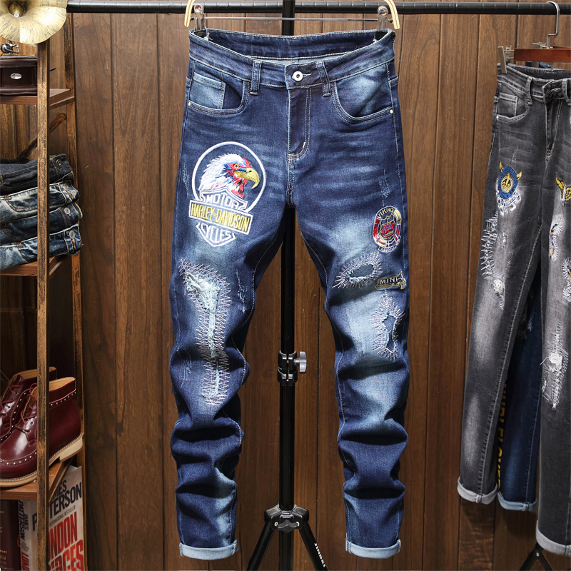 Male Jeans Men Men'S Jean Homme Denim Slim Fit Pants Trousers Straight Blue Biker Printing Ripped Spijkerbroeken Heren Hip Hop