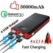Power Bank 30000mAh power bank Мобильная внешняя батарея портативное быстрое зарядное устройство цифровой дисплей для всех внешний аккумулятор для смартфона