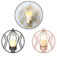 Christmas 3D Round Iron Tealight Candle Holder Nordic Style Sconce Wedding Party Candlestick Rose Gold Black Home Wall Decor