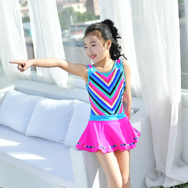 Children Girls Dress-One-piece Bathing Suit Korean-style Stripes Conservative Wide-Strap Hot Springs Tour Bathing Suit Small Chi