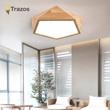 TRAZOS 2019 New Design Modern Led Ceiling Lights With Square Wood Frame Lamparas De Techo Japanese Style Lamps For Bedroom(China)