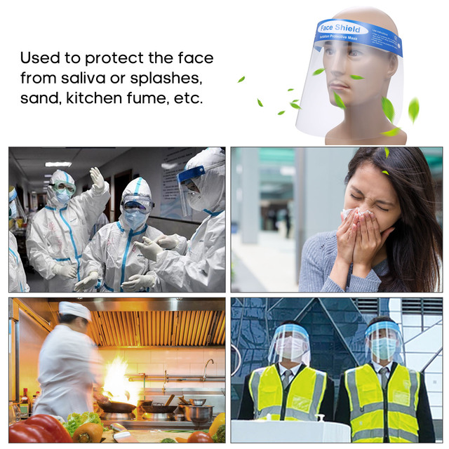 10Pcs Face Shield Anti-Saliva Transparent Anti-Splash Splatter Full Isolation Dust-proof Protective Cover PET face Mouth mask 2