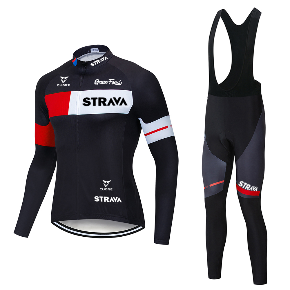 2020 NEW STRAVA Men Cycling Clothing Ropa Ciclismo Bike Jersey Set Long Sleeve Cycling Jersey Gel Pad Bike bib Pants Sui