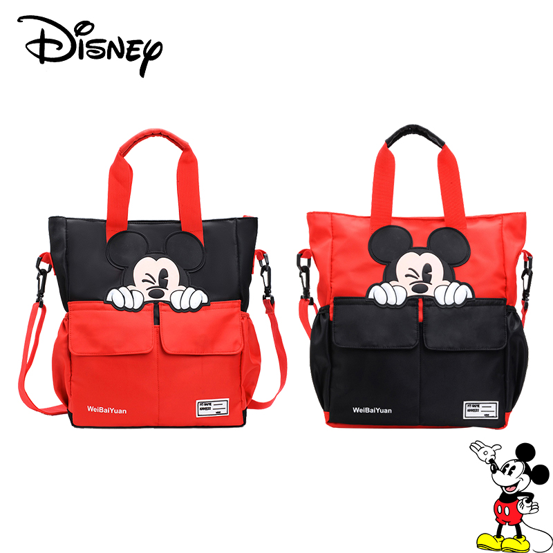 Disney Mickey Mouse School Tutor Bag Middle School Student Bag Canvas Children's Messenger Shoulder Bag Boys Girls Handbags