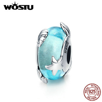 WOSTU Starfish & Shell Blue Beads 925 Sterling Silve Murano Glass Charm Fit Women Original Bracelet Pendant DIY Jewelry CQC1257