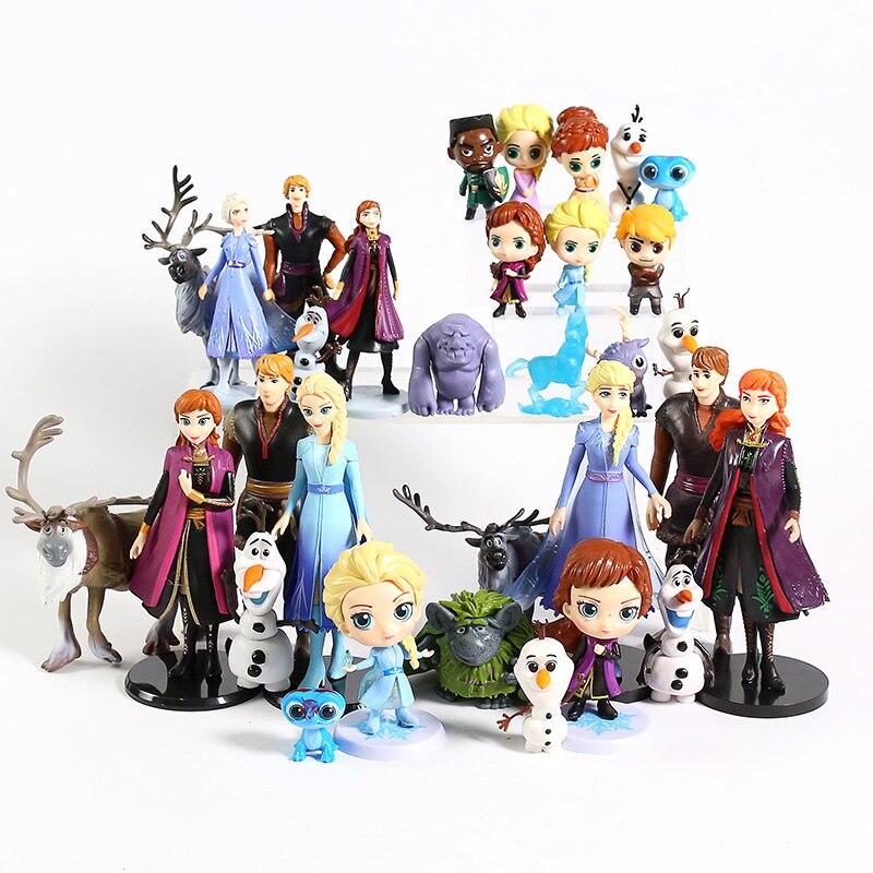 Queen Elsa Anna Olaf Sven Kristoff Bruni Nokk Earth Giants Troll Mattias PVC Figures Collectible Toys Set