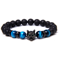New Natural Royal Blue Tiger Eye Stone Beads Bracelet Black Wolf Head Charm Bracelet Men Energy Courage Bracelet Jewelry Gifts