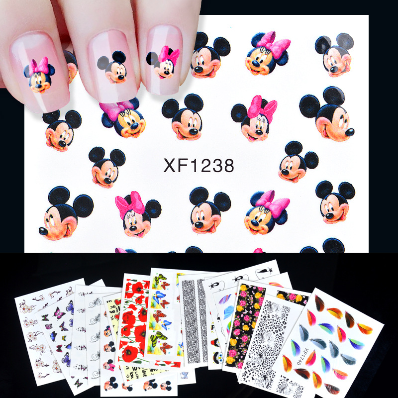 Cross Border For 16-Nail Stickers Set Lace Flower Cartoon Manicure Watermarking Adhesive Paper Flower Stickers DIY Jewelry