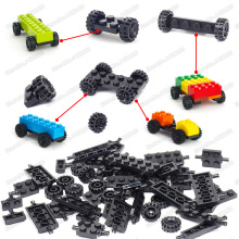 City Building Block Wheel Shaft Plate Accessories Diy Racing Car Military Vehicle Technology Classic Cars Figures Moc Child Toys