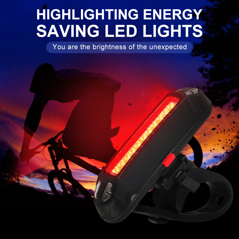 USB Rechargeable COB LED Bicycle Cycling Taillight Waterproof Warning Lamp