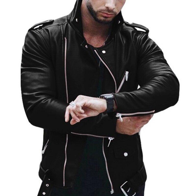 Men's Jackets Fashion Casual Short Coat Lapel Long Sleeve Zipper PU Leather Slim Fit Vintage Men Coat