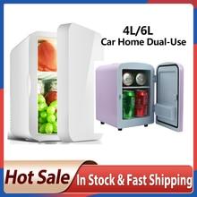 Mini frigorífico, mini refrigerador pequeno 12v para carro 220v porta única carro casa dupla uso termoelétrico mini geladeira cooler aquecedor