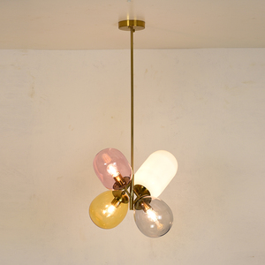 Image 4 - Modern hanging ceiling lamps four color glass lampshade E27 pendant lights for Restaurant kitchen bedroom lighting