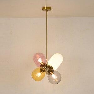 Image 4 - Moderno pendurado lâmpadas de teto quatro cor vidro abajur e27 luzes pingente para restaurante cozinha quarto iluminação
