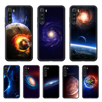 Space moon earth mars Phone Case cover For xiaomi Redmi note 4 5 6 7 8 A T X Plus Pro black prime tpu back painting cover luxury image