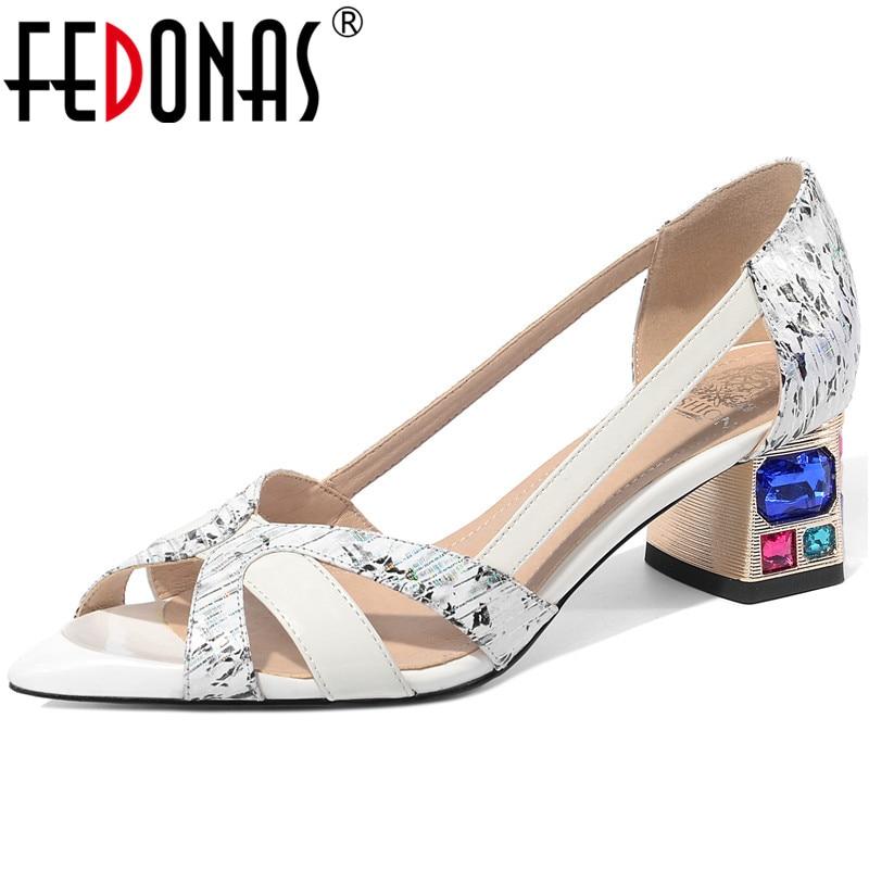 FEDONAS Crystal Shallow Genuine Leather Women Sandals 2020 Peep Toe High Heels Pumps Rhinestone Fashion Newest Basic Shoes Woman