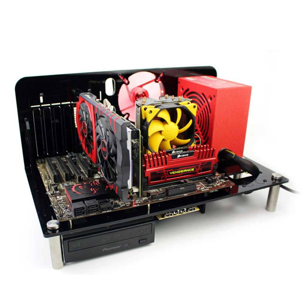 Computer Gaming Case ATX Micro ATX ITX Motherboard PC Cases DIY Mini Open Acrylic + Metal Frame Desktop Cases 2