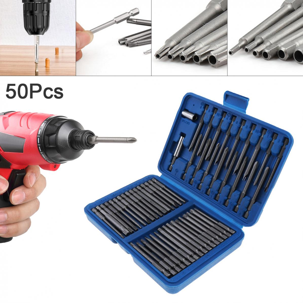 50pcs/lot Screw Head 75MM Extra Long Bits Set Multi-purpose Screwdriver Bit Set Fit For Electric Screwdriver