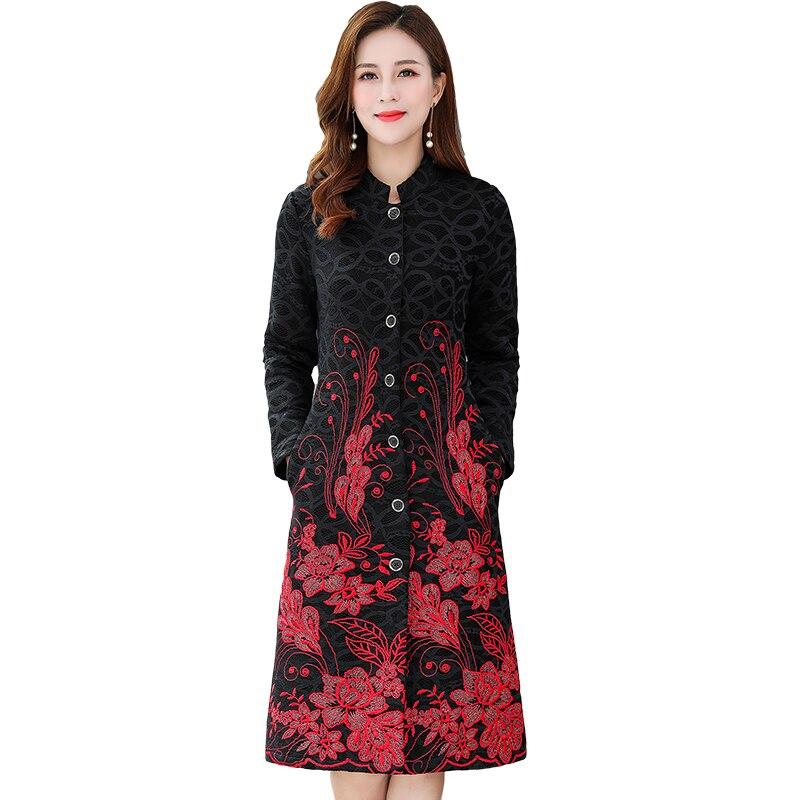 Весна осень Женская Вышивка цветок Длинная Элегантная верхняя одежда, Женская кружевная Цветочная кардиган Тренч пальто плюс размер