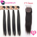 Silkswan 30-40 Inch Middle Ratio Long Straight 4 Bundles With 5x5 Transparent Lace Closure Natural Black Remy Hair Free Shipping