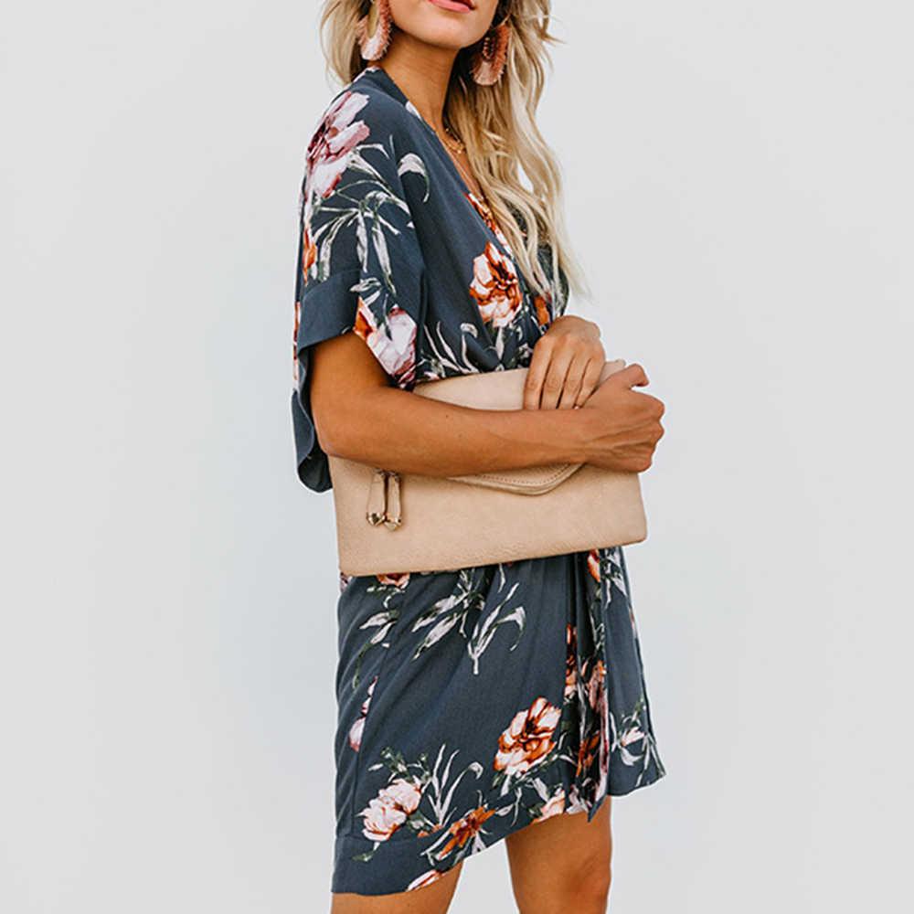 Высококачественное удобное мини-платье с v-образным вырезом и свободным поясом и элегантным женским принтом idyllic стиль Летняя Мода Милая Новинка