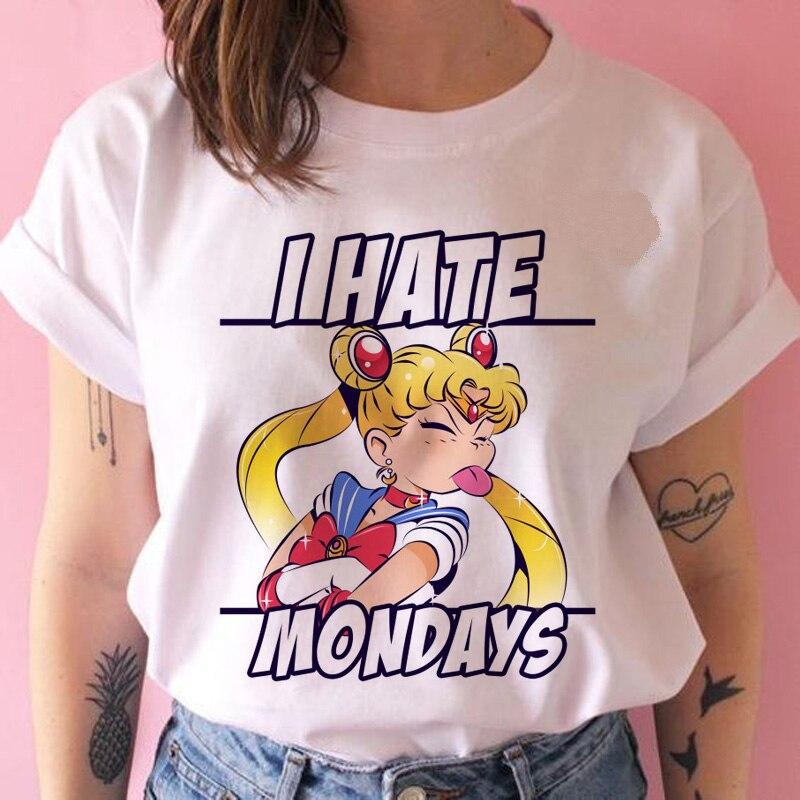 Lus Los I Hate Mondays Sailor Moon Women T Shirt Harajuku Short Sleeve Fun Ulzzang T-Shirt Cute Cat Tshirt Cartoon Top Tees