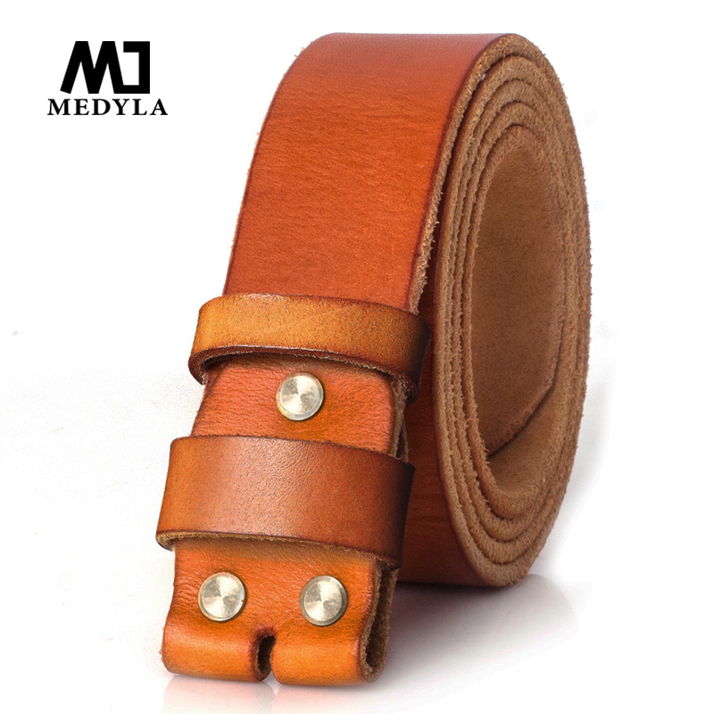 MEDYLA Official authentic high quality Cow Leather Belt Cowskin Leahter Strap Men Belt High Quality