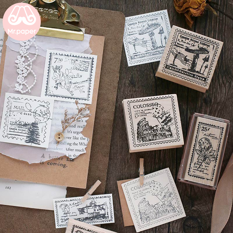 Mr Paper 6 Designs Vintage Retro Mushroom Flower Letter Stamp Wooden Rubber Seals For Scrapbooking Decoration Wooden Stamps