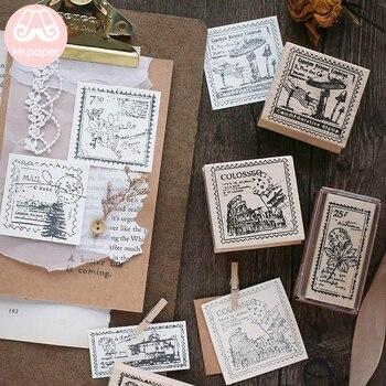 Mr Paper 6 Designs Vintage Retro Mushroom Flower Letter Stamp Wooden Rubber Seals for Scrapbooking Decoration Wooden Sta