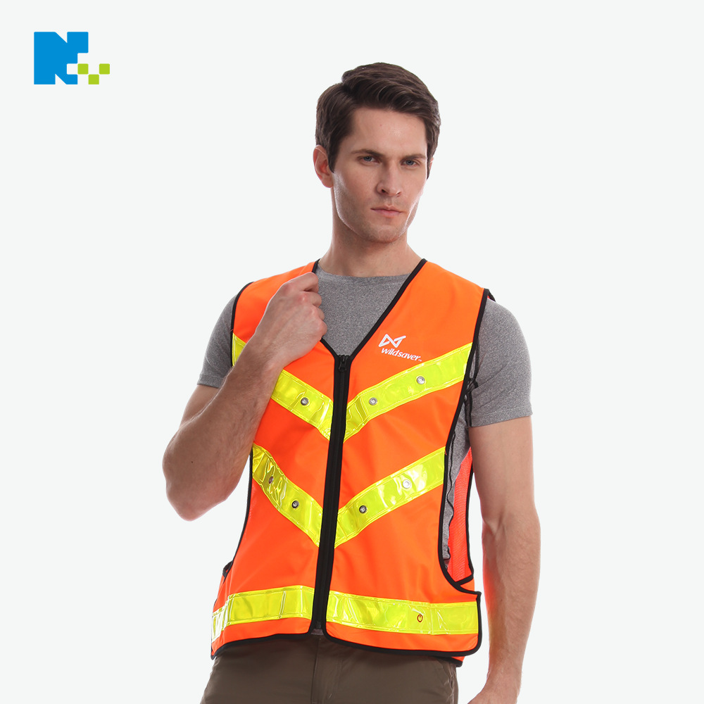 Architecture Work Site Safety Vest Reflective Waistcoat China Architecture Reflective Vest LED Clothing Customizable Add Logo