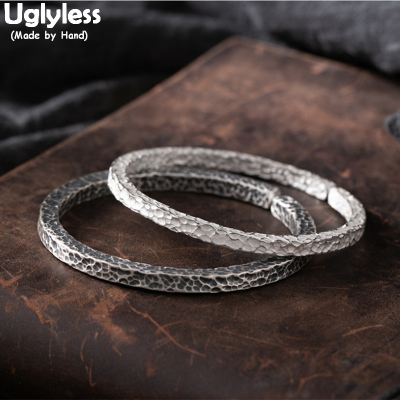 Uglyless Meteorite Design Knocking Surface Personalized Lovers Bangles Solid 999 Pure Silver Square Open Bangles for Men Women