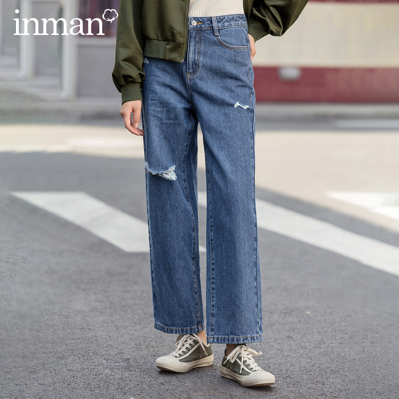 INMAN 2020 Spring New Arriavl Pure Cotton High Waist Fashion Personality Wear Loose Straight Jean