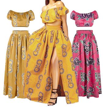Nowy afrykański styl damski garnitur seksi koszulka spódnica drukowane słowo ramię koszulka z lampionowymi rękawami luźna spódnica tanie i dobre opinie Poliester Kanga Odzież WOMEN WY0027 short sleeve Print long skirt