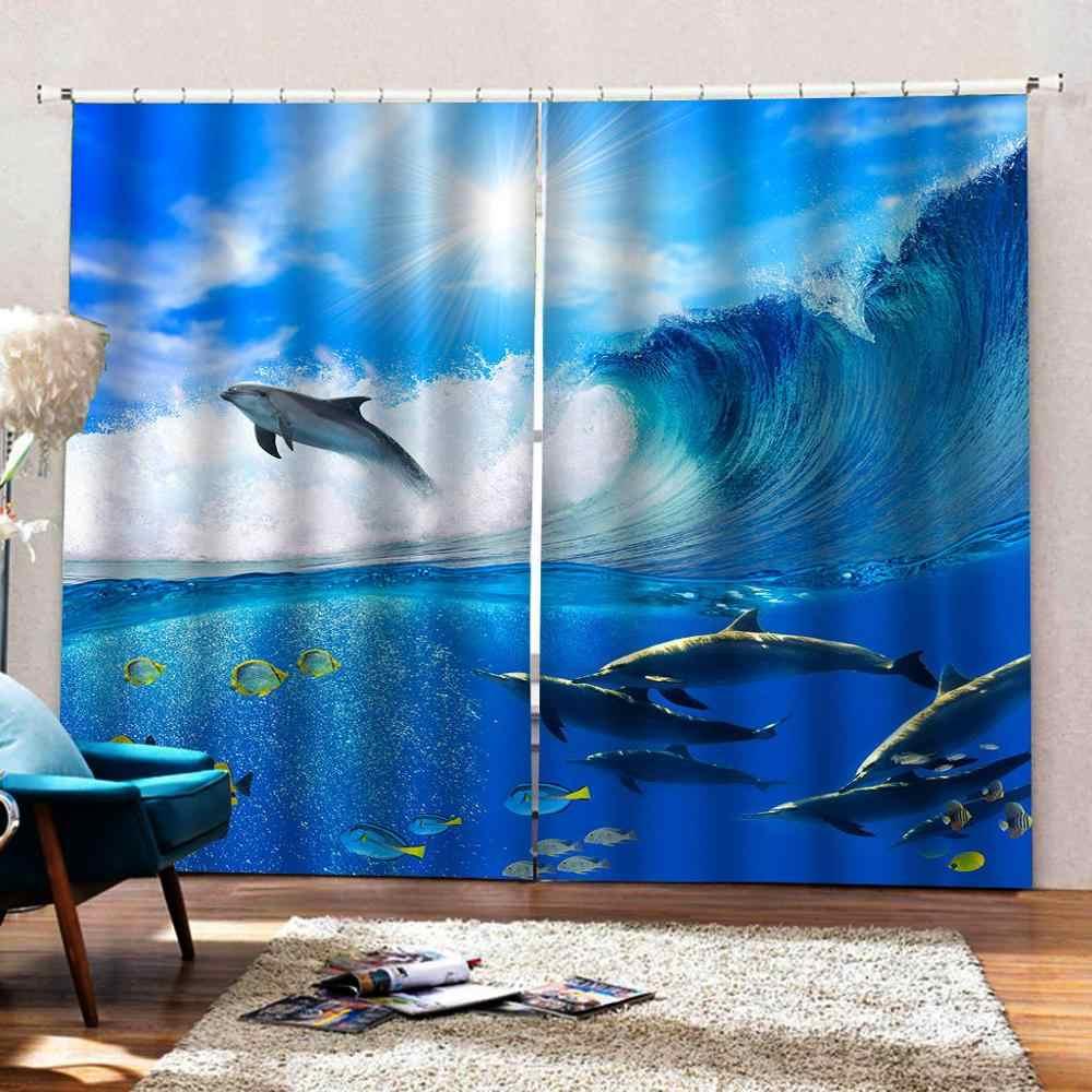 Tenda di mancanza di corrente 3D Tende Camera Da Letto Soggiorno Tende Cortinas formato Su Misura blu cielo di delfino di acqua tende