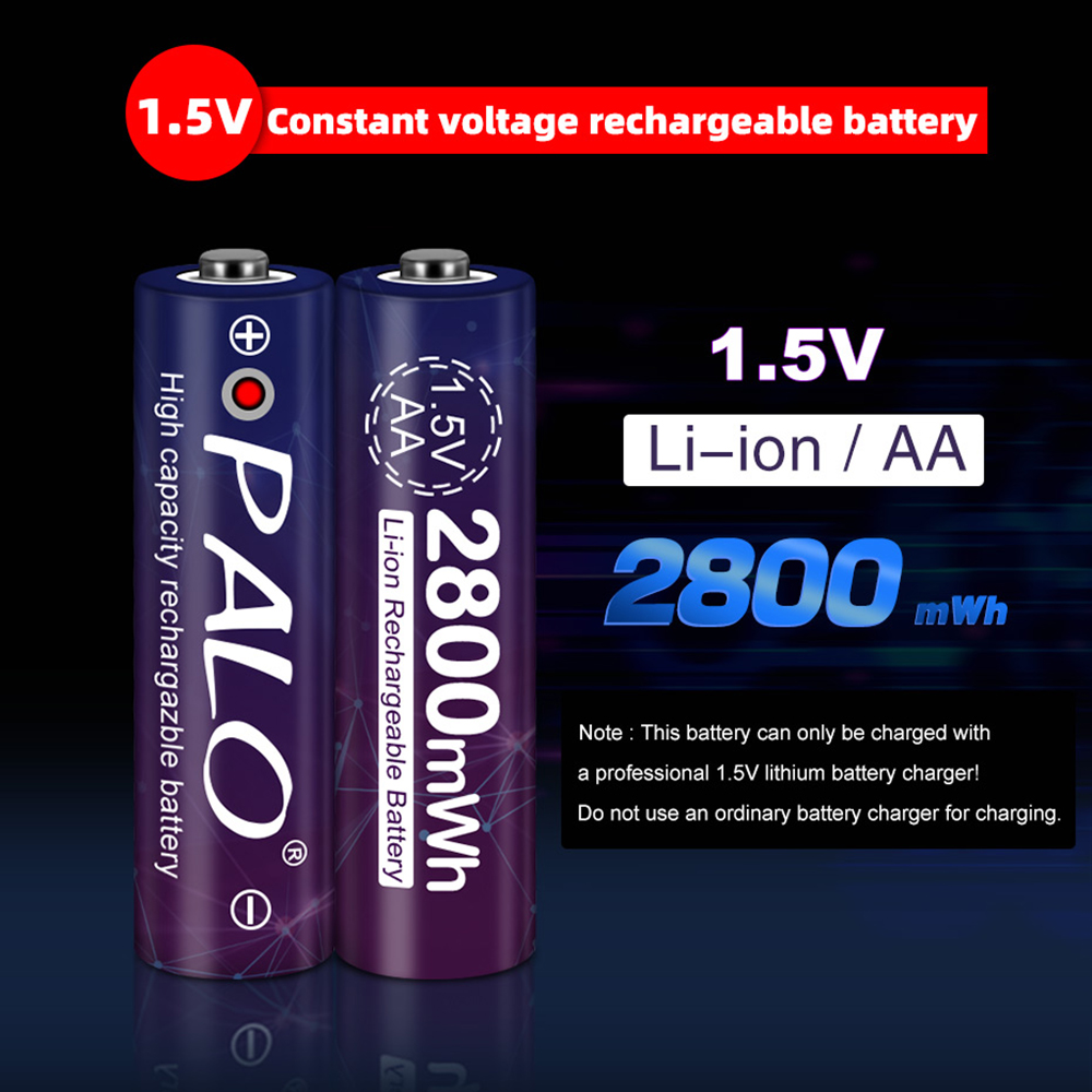 PALO constant voltage 1.5V AA rechargeable lithium battery 2800mWh 1.5V battery with LED light for camera flashlight toys mouse image