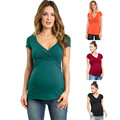 Одежда для беременных, Женская однотонная одежда для кормления грудью, многофункциональная блузка, футболка, ropa embarazada # guahao