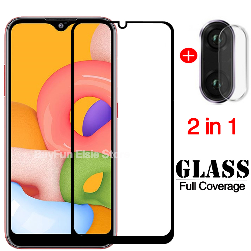 2-in-1 Tempered Glass For Samsung Galaxy A01 Screen Protector on Galaxy A 01 01A A015 5.7'' Film Phone Protective Glass