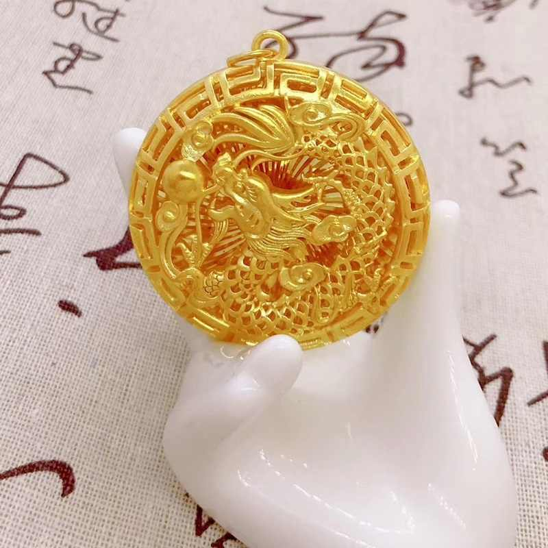 OMHXFC ขายส่ง YM90 ยุโรปแฟชั่น Man PARTY งานแต่งงานวันเกิดของขวัญ VINTAGE Hollow Dragon รอบ 24KT Gold จี้ Charm