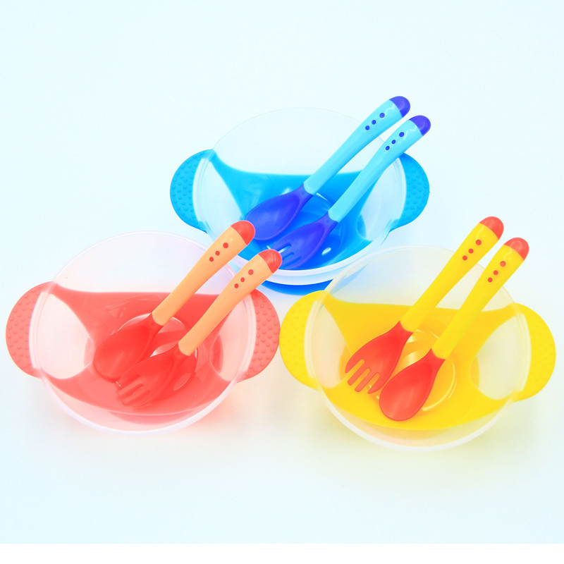 3Pcs/Set Baby Child Feeding Tableware Set Baby Sucker Bowl + Soft Fork + Temperature Spoon Complementary Food Bowl Dinner Plate