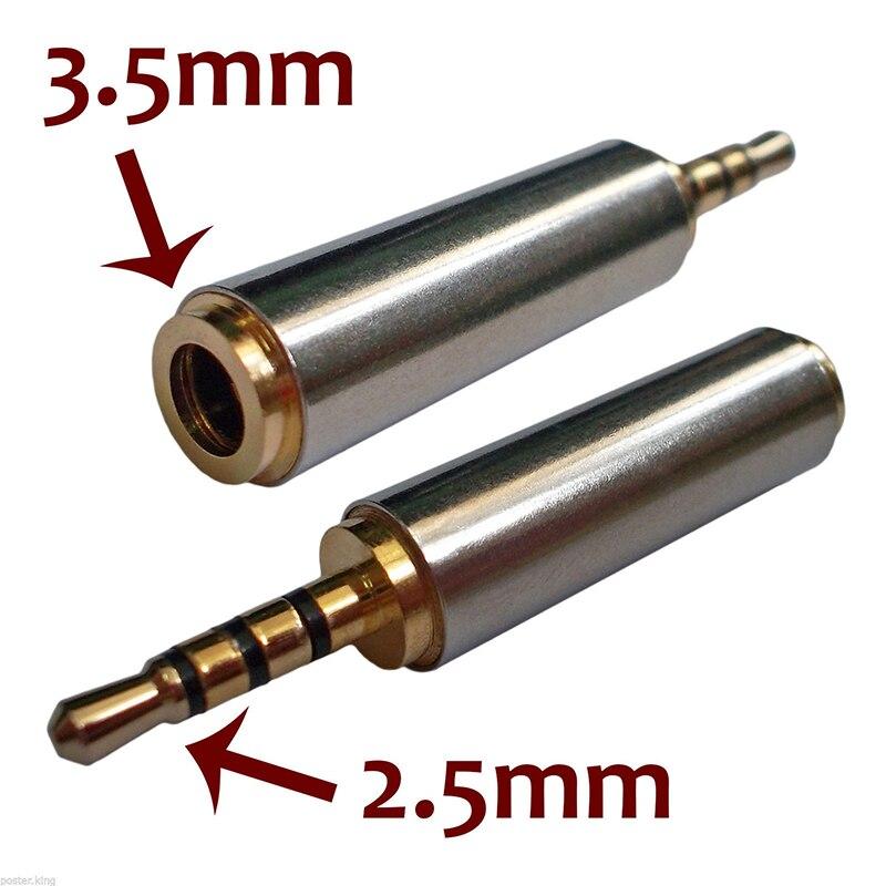 2 piezas oro 2,5 Mm macho a 3,5 Mm hembra Audio estéreo adaptador enchufe convertidor auriculares Jack