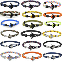 Silver/Black Alloy Anchor Bracelet Multilayer Rope Chain Paracord For Women Men Navy Style Gifts